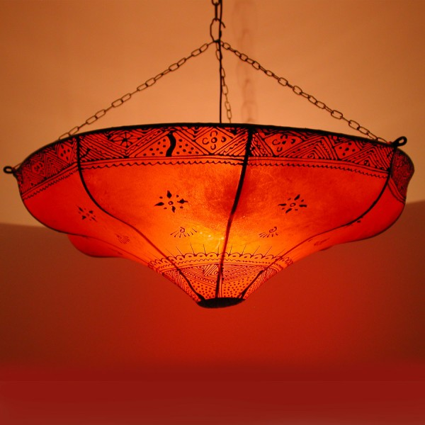Henna-Leder-Deckenlampe Karima Rot