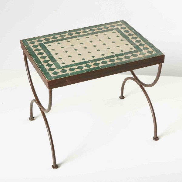 Mosaik-Beistelltisch L44 Grün / terracotta