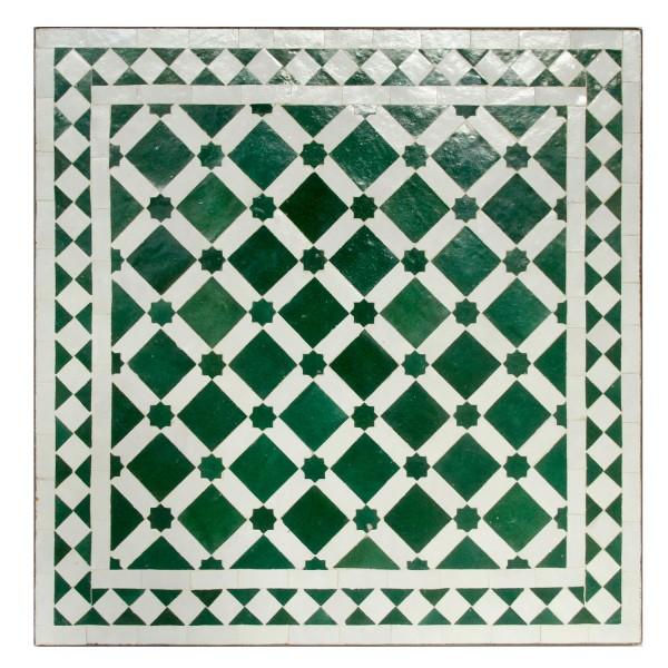 Mosaiktisch 60x60 Grün Weiß Glasiert