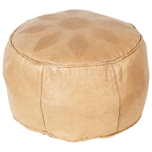 Marokkanische Leder Sitzkissen Zohir beige