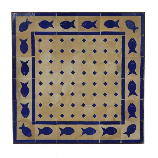 COUCH-MOSAIKTISCH 60X60 FISCH BLAU