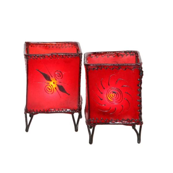 2 Stück Leder Windlichter Carre Rot