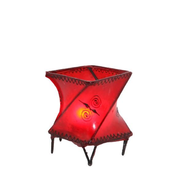 Leder-Windlicht Louza Rot
