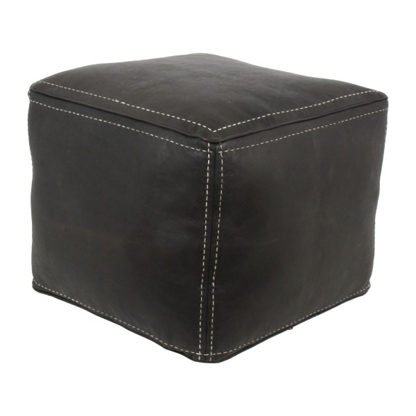 Marokkanische Leder Sitzkissen Dania schwarz