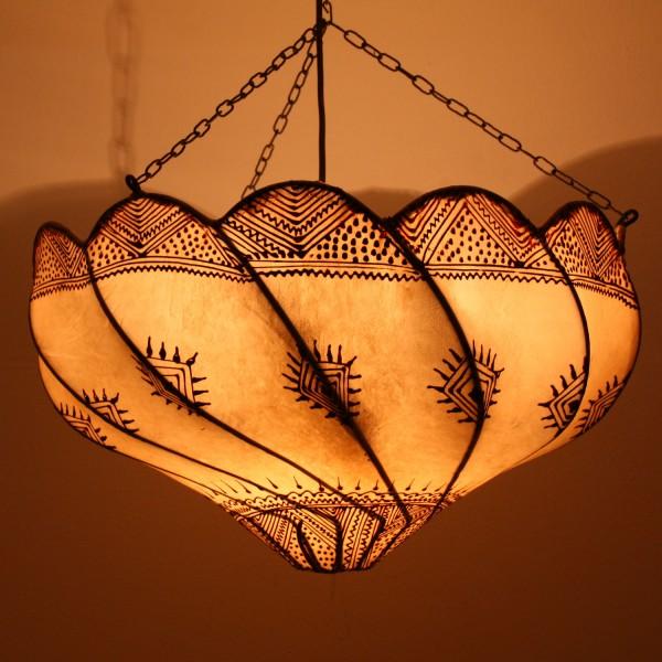 Henna-Leder-Deckenlampe Lela Natur
