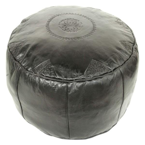 Marokkanisches Leder Sitzkissen Rbati Schwarz groß