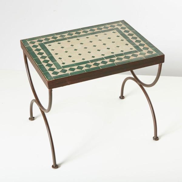 Mosaik-Beistelltisch L39 Grün / terracotta