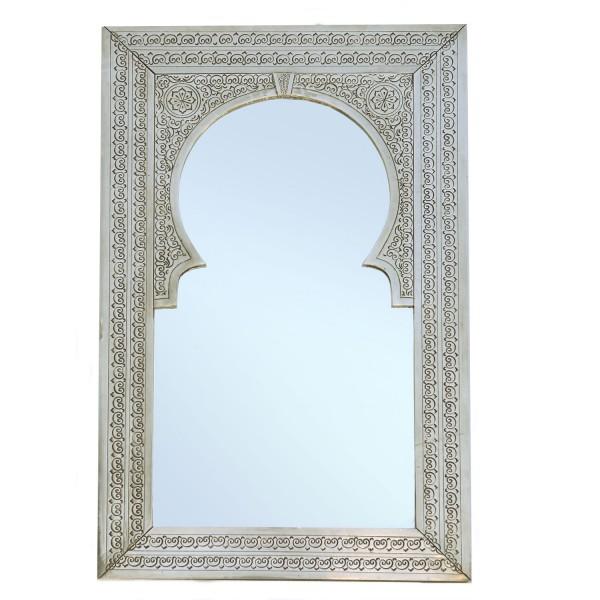 Orientalischer MessingSpiegel Silber Olfa 90x55 cm