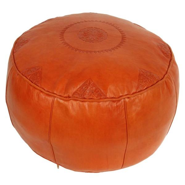 Marokkanisches Leder Sitzkissen Rbati Orange gross