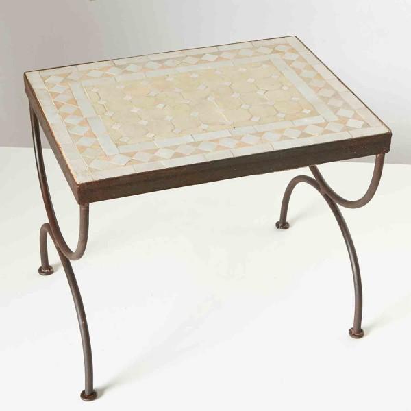 Mosaik-Beistelltisch L50 Weiss/ terracotta