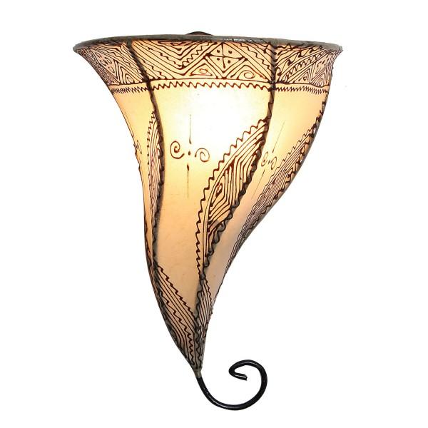 Leder-Wandlampe Mouza Weiss