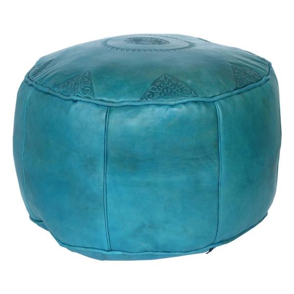 Marokkanisches Leder Sitzkissen Rbati Türkis groß