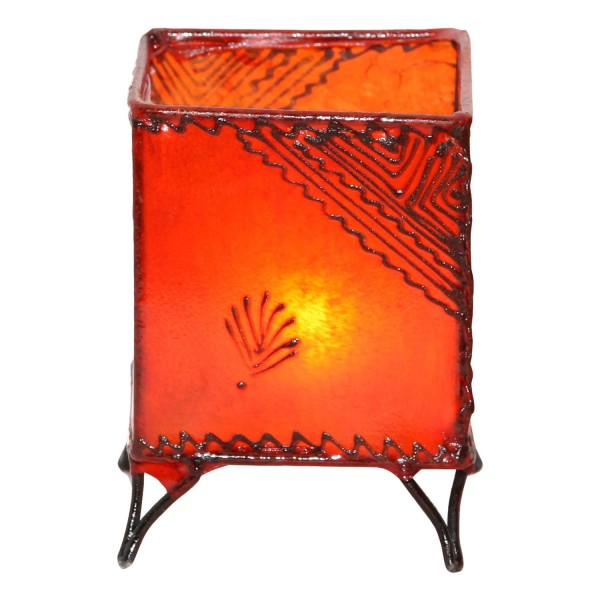Leder-Windlicht Carre Orange