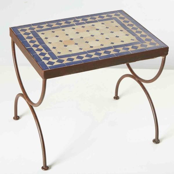 Mosaik-Beistelltisch L50 Blau / terracotta
