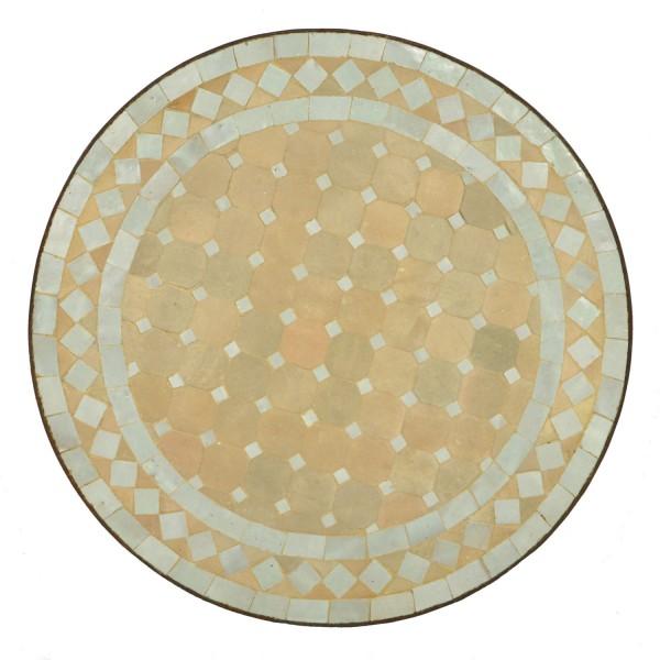 Mosaik-Beistelltisch Ø45cm Weiss-Raute