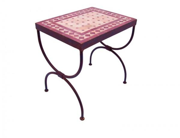 Mosaik-Beistelltisch L44 Bordeaux / terracotta