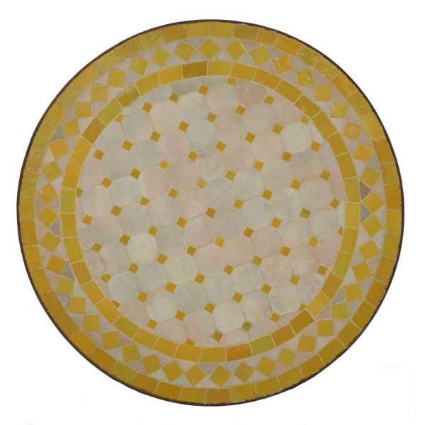 Mosaik-Beistelltisch Ø45 cm Gelb-Raute
