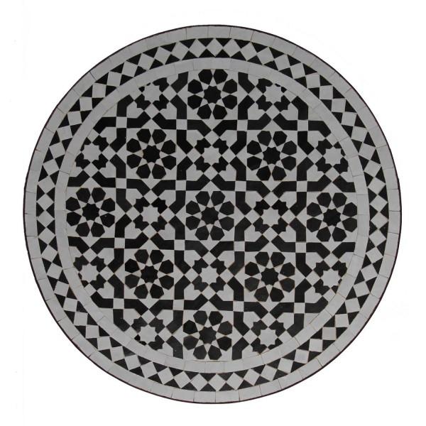 Mosaik Bistrotisch 70 Rund Schwarz-Weiss-Glasiert