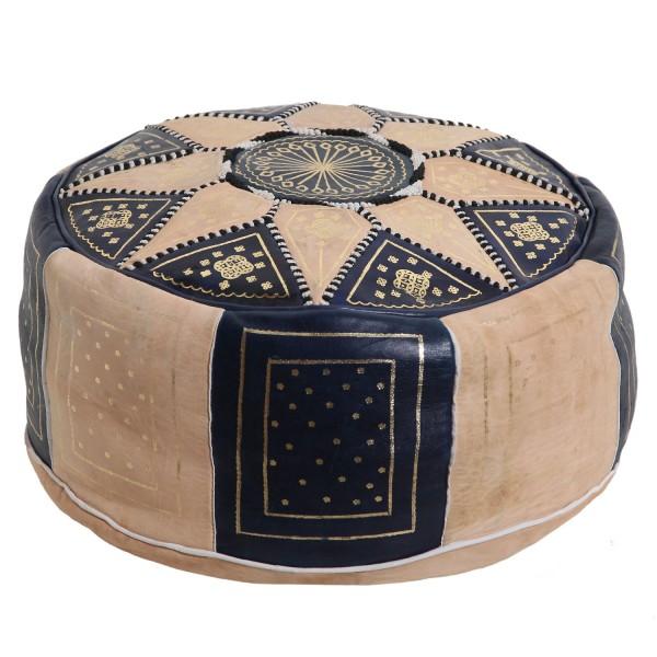 Marokkanische Leder Sitzkissen Nejma Blau