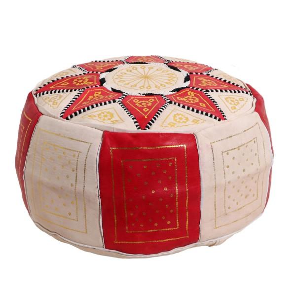 Marokkanisches Leder Sitzkissen Nejma rot